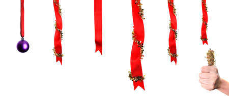Christmas decoration over white background with thumbs up photo