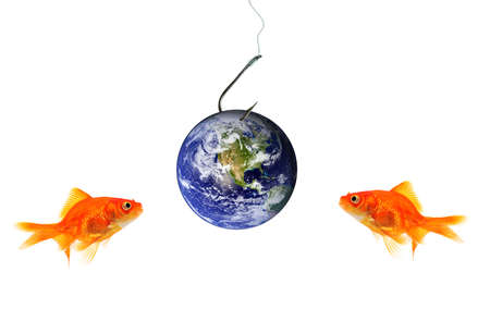 Two goldfish looking at planet earth as bait on hook isolated on white. Some components of this montage is provided courtesy of NASA, and can be found at http:visibleearth.gov photo