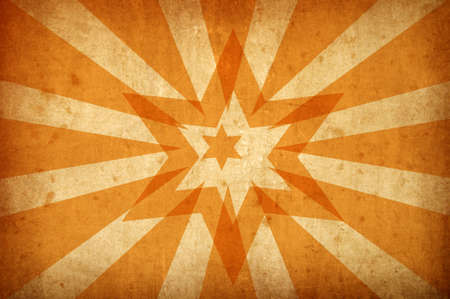 sun burnt: orange grunge background with stars and sun rays for multiple uses