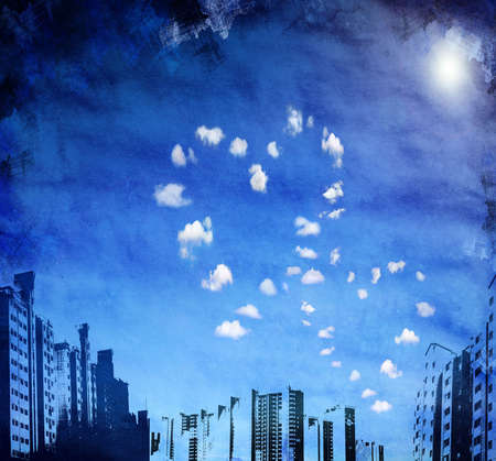 urban grunge background with heart shaped clouds for multiple uses Stock Photo - 6464928