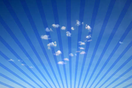 blue background with heart shaped clouds and sun rays for multiple uses  photo