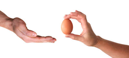 hang giving egg isolated on white background photo