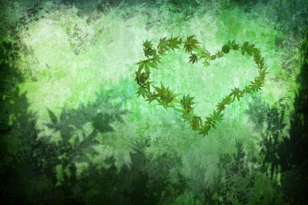 green heart shape by leaves on grunge background photo