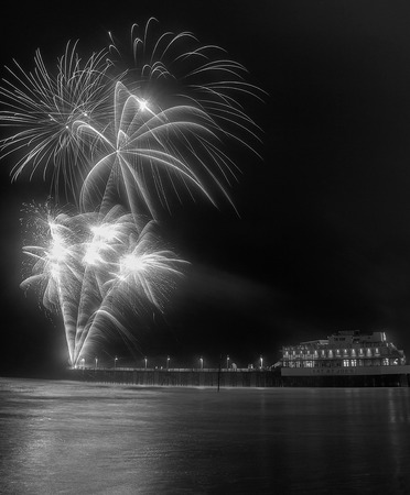 Fireworks being shot from the pier at Daytona Beach in Florida