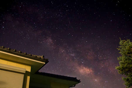 The Milky Way is Visible in the Night Sky of Ueda, Nara Prefecture of Japan in Summer