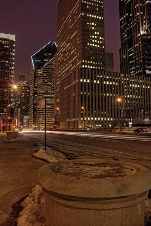 Downtown Chicago during the Winter on a dreary Day Editorial