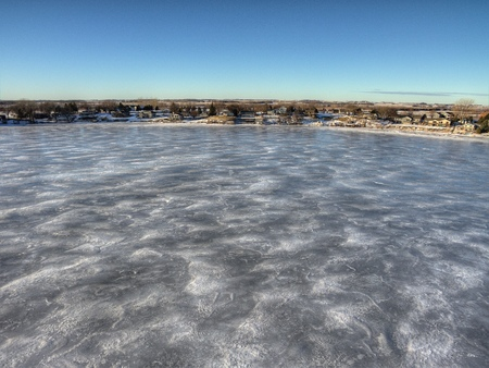 a frozen Lake Madison seen from above by Drone in Winter