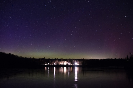 Northern lights and Aurora over Lake Superior on the North Shore of Lake Superior in Minnesota