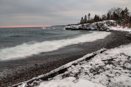 Grand Portage Indian Reservation during Winter on the Shores of Lake Superior in Minnesota on the Canadian Border