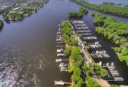 La Crosse는 미시시피 강 위스콘신의 커뮤니티입니다. 스톡 콘텐츠 - 102096959