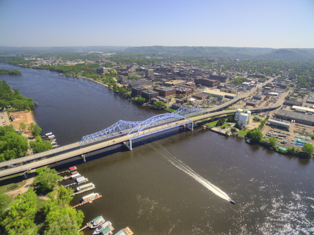La Crosse is a Community in Wisconsin on the Mississippi River Stock Photo