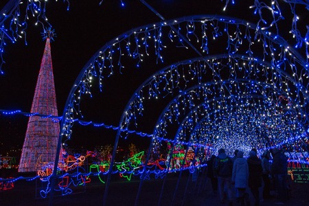 christmas lights in duluth minnesota during the winter season on lake superior shores stock photo