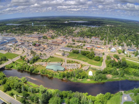 Grand Rapids is a Town on the Mississippi River in Northern Minnesota with a Paper Mill 스톡 콘텐츠