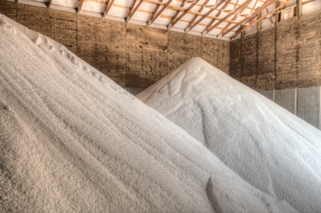 Food Grade Water Softening Salt stored in a Warehouse for Later Use Banque d'images