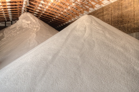 Food Grade Water Softening Salt stored in a Warehouse for Later Use 스톡 콘텐츠