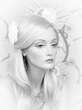 mannequin: Mannequin fille en noir et blanc Banque d'images