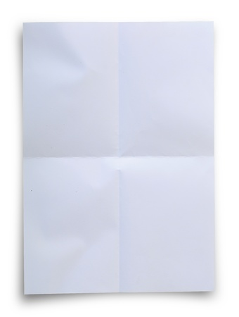 White folded paper background isolated on white, clipping path. photo