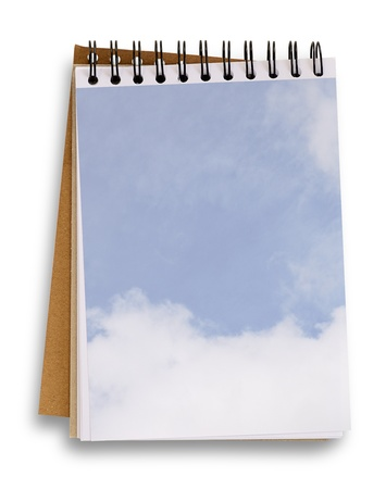 clipping  path: Open blank notebook with blue sky and white cloud background, isolated on white, clipping path.