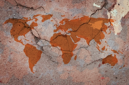 wold: Wold map on cracked concrete wall in vintage style.