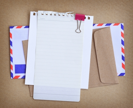 oversea: Paper note with envelop background.