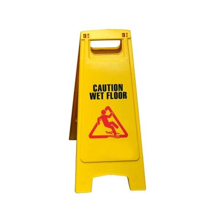 advising: Sign advising caution wet floor isolated on white.