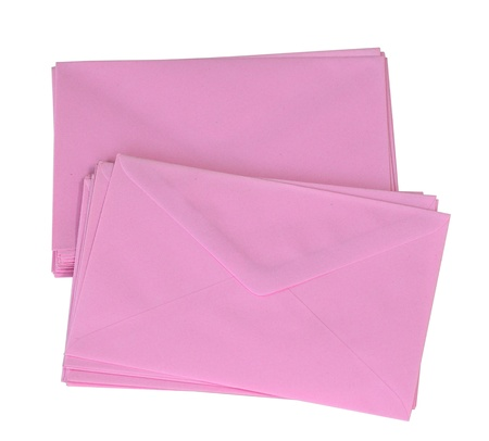 envelop: Stack of pink envelop isolated on white  Stock Photo