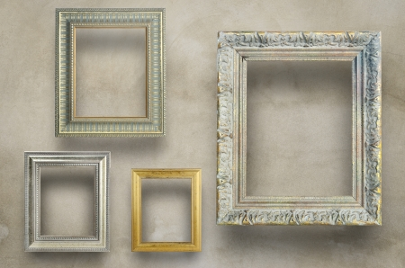 Variety of antique frame on concrete wall   photo