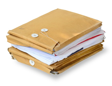 envelops: Stack of used envelops isolated on white  with clipping path.