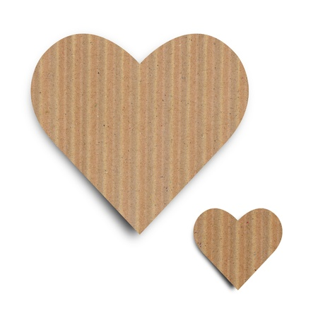 Heart backgrourd made from brown paper, with clipping path, love concept. photo