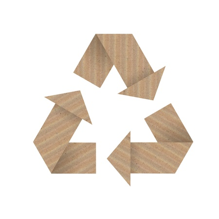 Recycle symbol made from brown paper.  photo