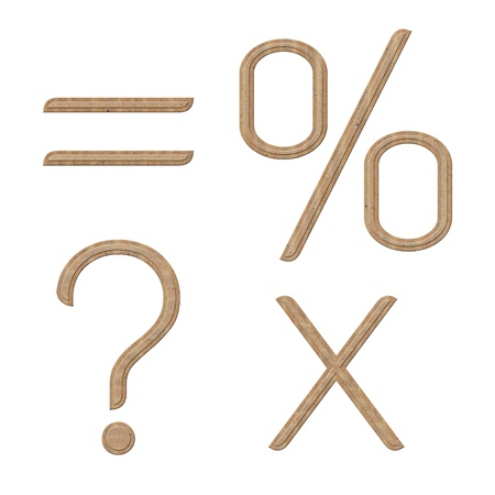 Symbol set of equal, percent, question mark and multiply, in brown recycle style.