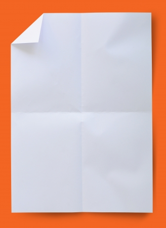 a4: Wrinkled white paper with clipping path. Stock Photo