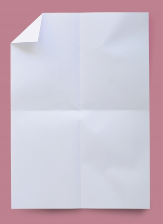scrunch: Wrinkled white paper on pink background with clipping path. Stock Photo