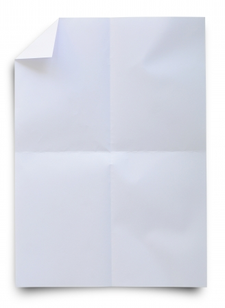 Wrinkled white paper isolated on whit with clipping path. photo
