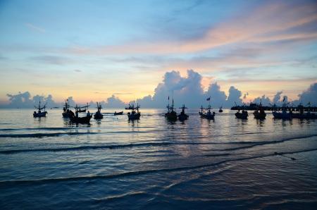 hin: Boats at fishing pier in Hua Hin, Thailand