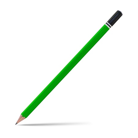 Green pencil isolated on white, clipping path. photo
