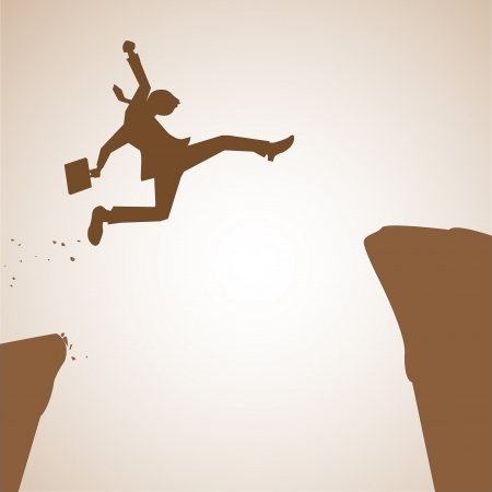 Businessman jumping across abyss in concept of winning obstacle. Vector illustration.