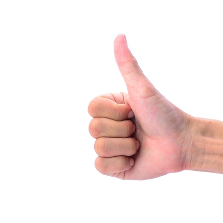 man's thumb: Mans hand makes thumb up sign, isolated on white