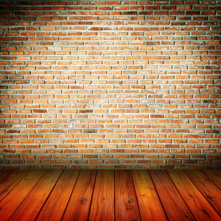 Brick wall pattern with vintage wooden floor photo