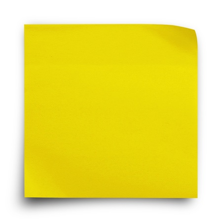 Yellow sticker paper note on white background photo