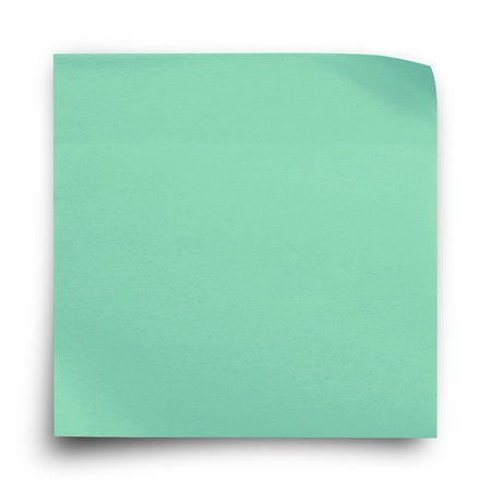Green sticker paper note on white background photo