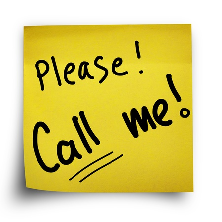 fold back: Please call me note on yellow sticker paper note isolated Stock Photo