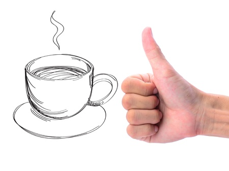 man's thumb: Mans hand makes thumb up sign on coffee drawing. Concept of drinking coffee.