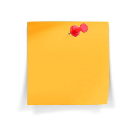 paper pin: Blank orange paper note with red pushpin, on white background Stock Photo