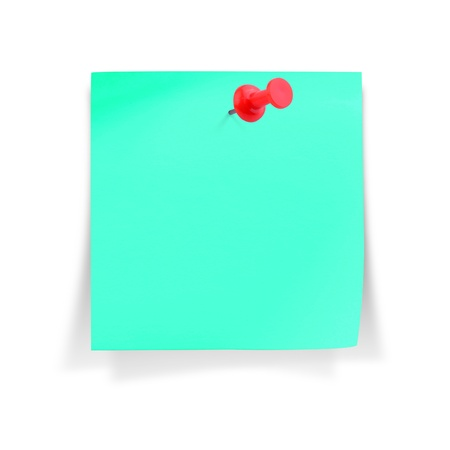 paper pin: Blank cyan paper note with red pushpin, on white background