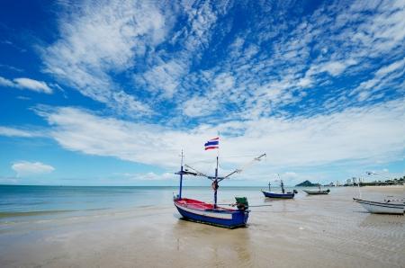 hin: Hua Hin beach in sunny day, Thailand.