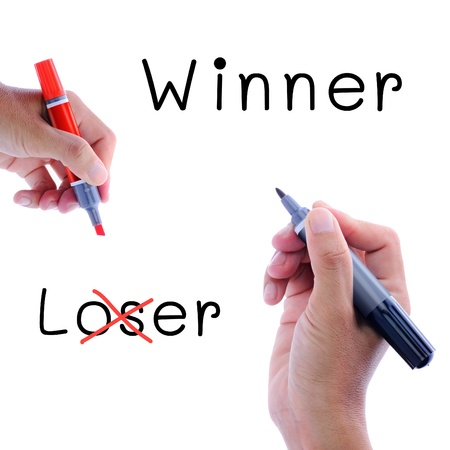 losers: Man hand writing, winner not loser, Motivation concept