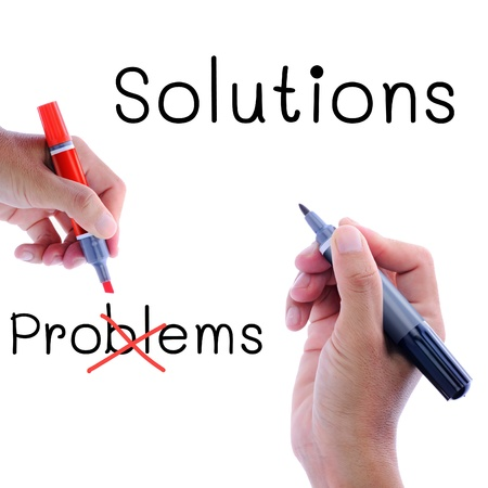 problems solutions: Man hand writing, solutions not problems, in concept of we need solution rather than problems.