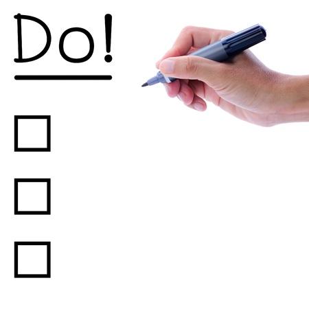 hacer: Escritura de la mano del hombre, Do, con espacio en blanco para que usted escriba su lista o texto. Foto de archivo