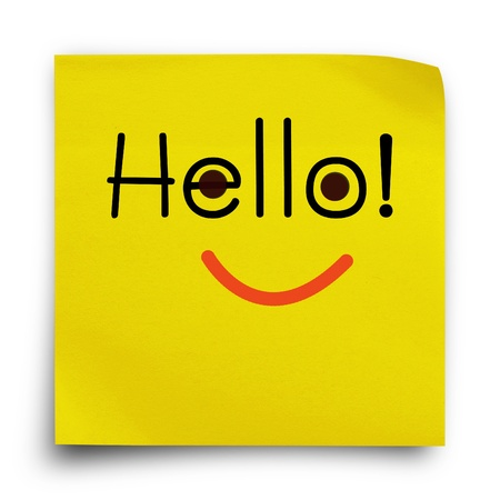 Hello word with smiley face on yellow sticker paper note photo